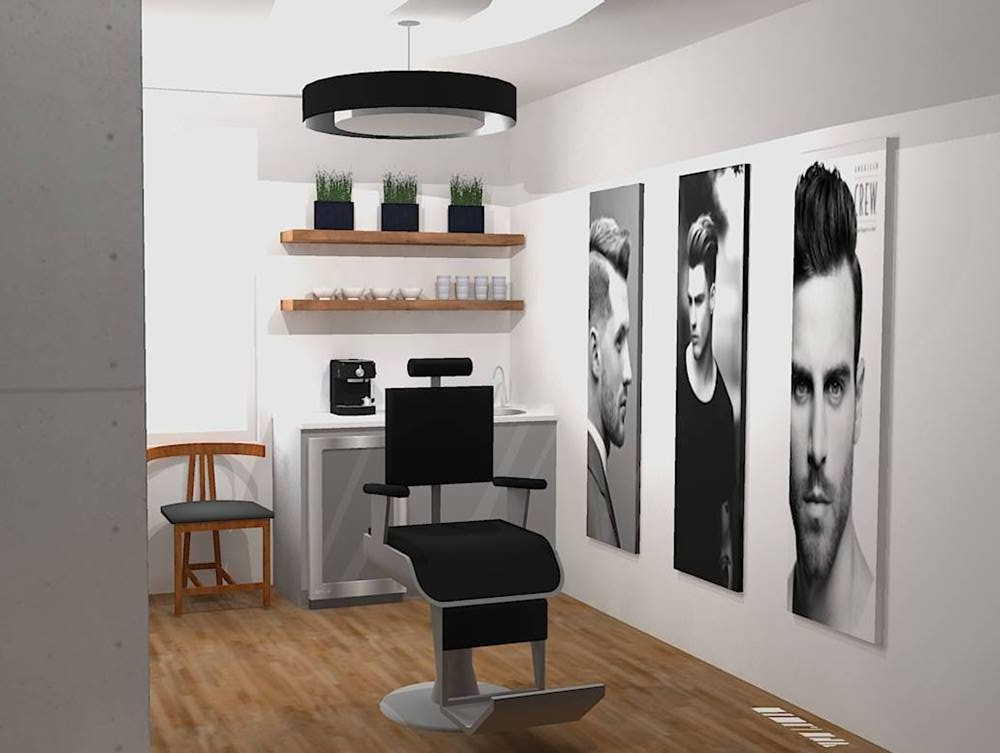 salon de coiffure homme espace idesign design d 39 int rieur par sophie christin espace. Black Bedroom Furniture Sets. Home Design Ideas