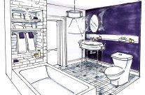 salle de bain mauve